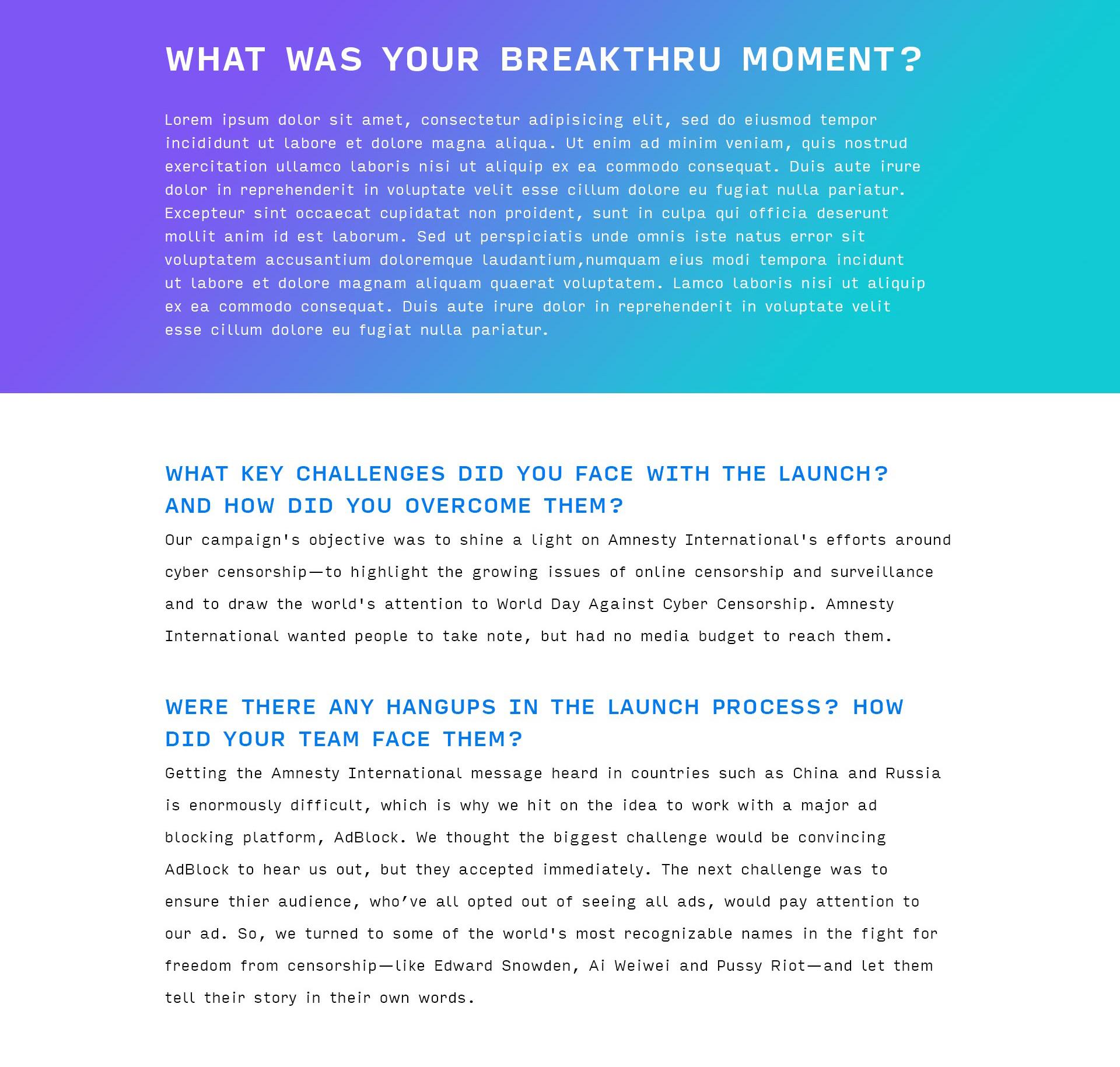 2019 Webby for Good website revamp - Interior Q&A