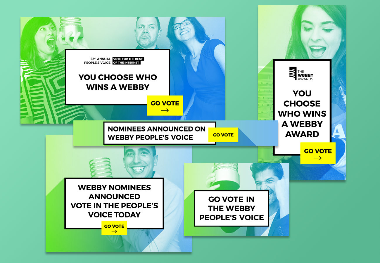 Continuing the design style from the previous year we wanted the 23rd Webbys to focus more on the winners and their excitement of the accomplishment. Using our updated colors and winner portraits (by amazing photographer  James Hartley ) we revolved our campaign around our community.