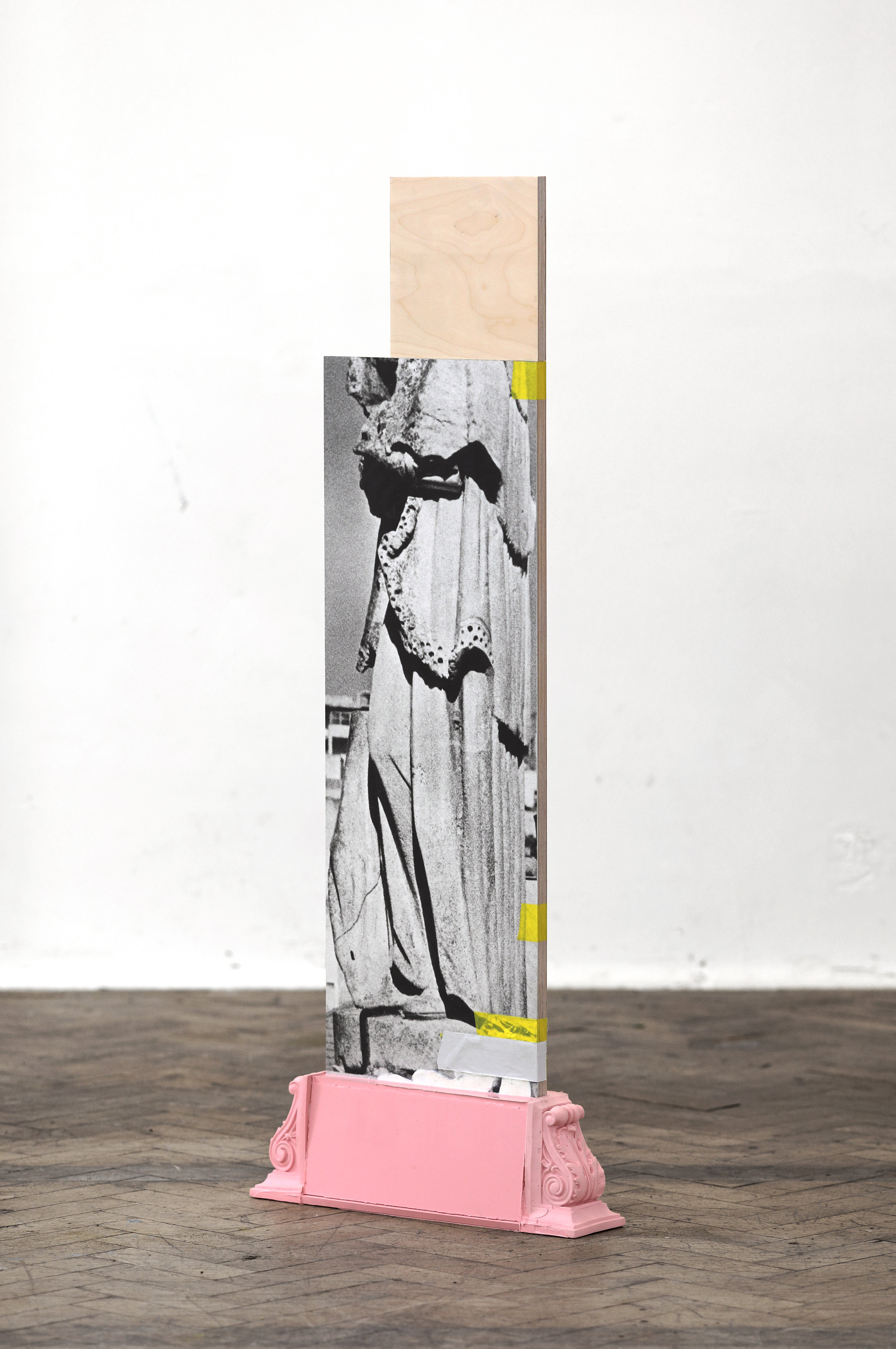 empty in the other    Hahnemüle print, silicon, tape, aluminium and birch plywood  132 x 51.5 x 11 cm  2019