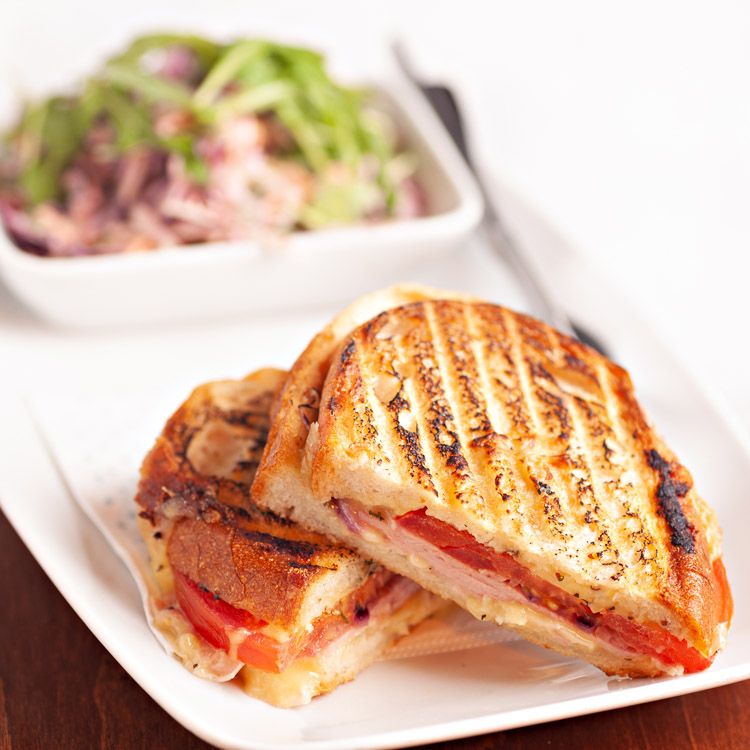 Toasted Sandwich with Various Fillings and Side Salad