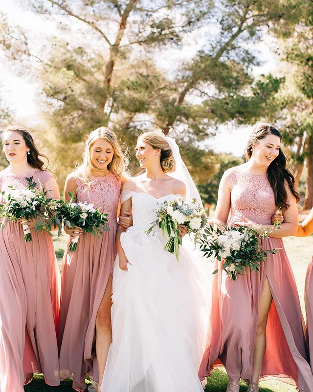 As the weekend is right around the corner, I can't help but think of fun and girl tribes! This bunch was one of the most fun and supportive I've ever seen.  Pro tip: if you are more budget conscientious, chose a smaller bridal party to cut down on costs of floral (think bridesmaids bouquets) and gifts for your girls (robes, thank you gifts etc). Photographer: @nima_photography  Planning & Design: @storybookeventslv  Floral: @naakitifloral Dress: @thewhitemagnolia Hair & MU: @ameliacandco