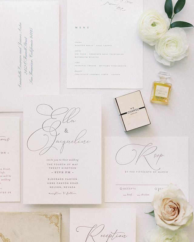 Letterpress is always such a beautiful choice for stationery and I'm a big believer in less is more. Let the pretty speak for itself.  Planning & Design: @storybookeventslv  Photographer: @madeleinecollinsphoto  Stationery Suite: @mintedweddings  Floral: @girlluvsflowers