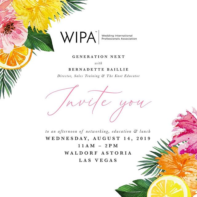 Such an honor and privilege to be the partner planner & designer for this amazing industry association we call WIPA (Wedding International Professionals Association). We have an amazing day planned for you all.  Will you be there?  Invitation design: @paige_bydesign