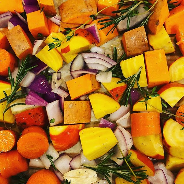 Dinner prep!  Sweet pots, carrots, red onions, golden beets, garlic, rosemary and thyme.
