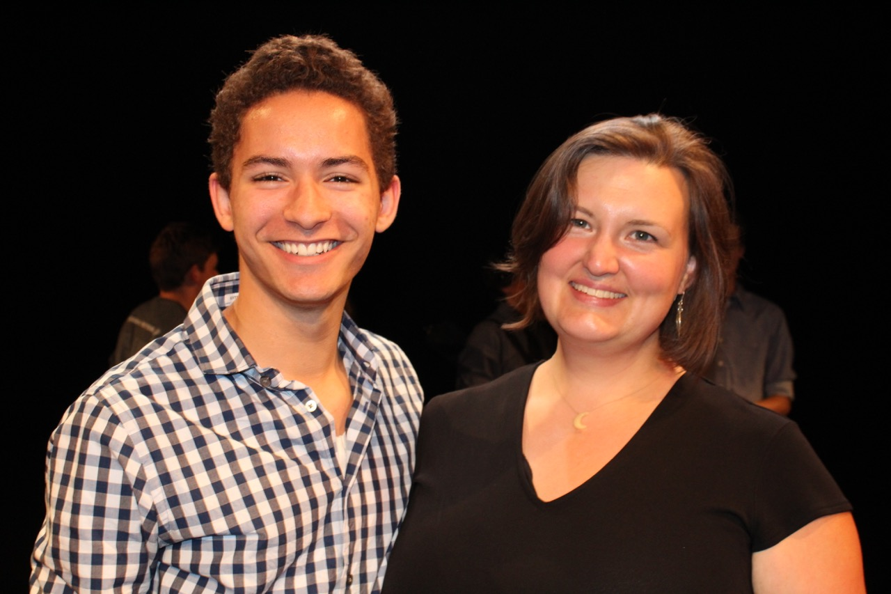 Christian Henry with teacher, Sharon Costianes. A Core scholarship recipient, Christian has gone on to study Musical Theater at Ithaca College.