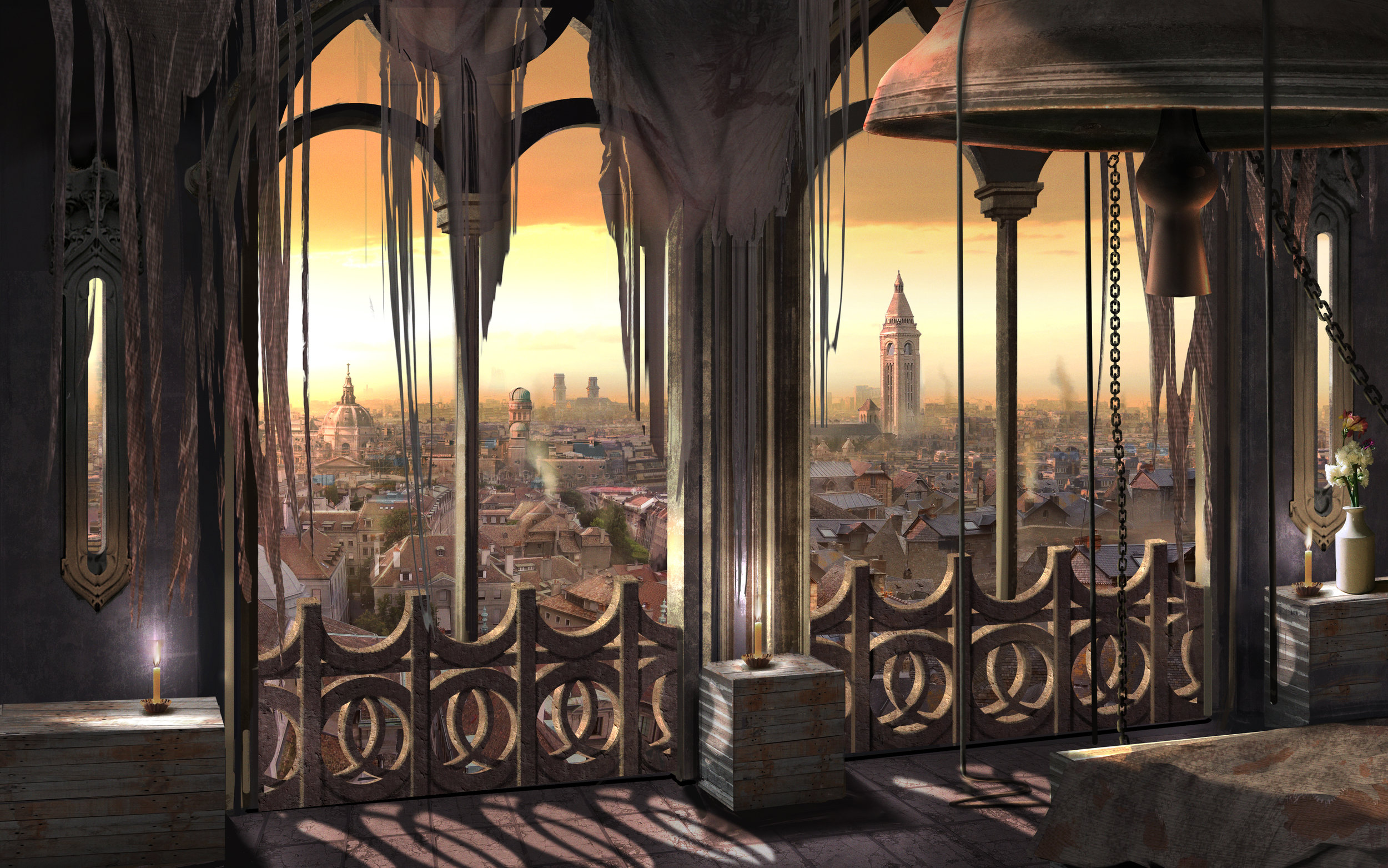 """Quasimodo's """"Sanctuary"""" in the Bell Tower of Notre Dame overlooking the city of Paris."""
