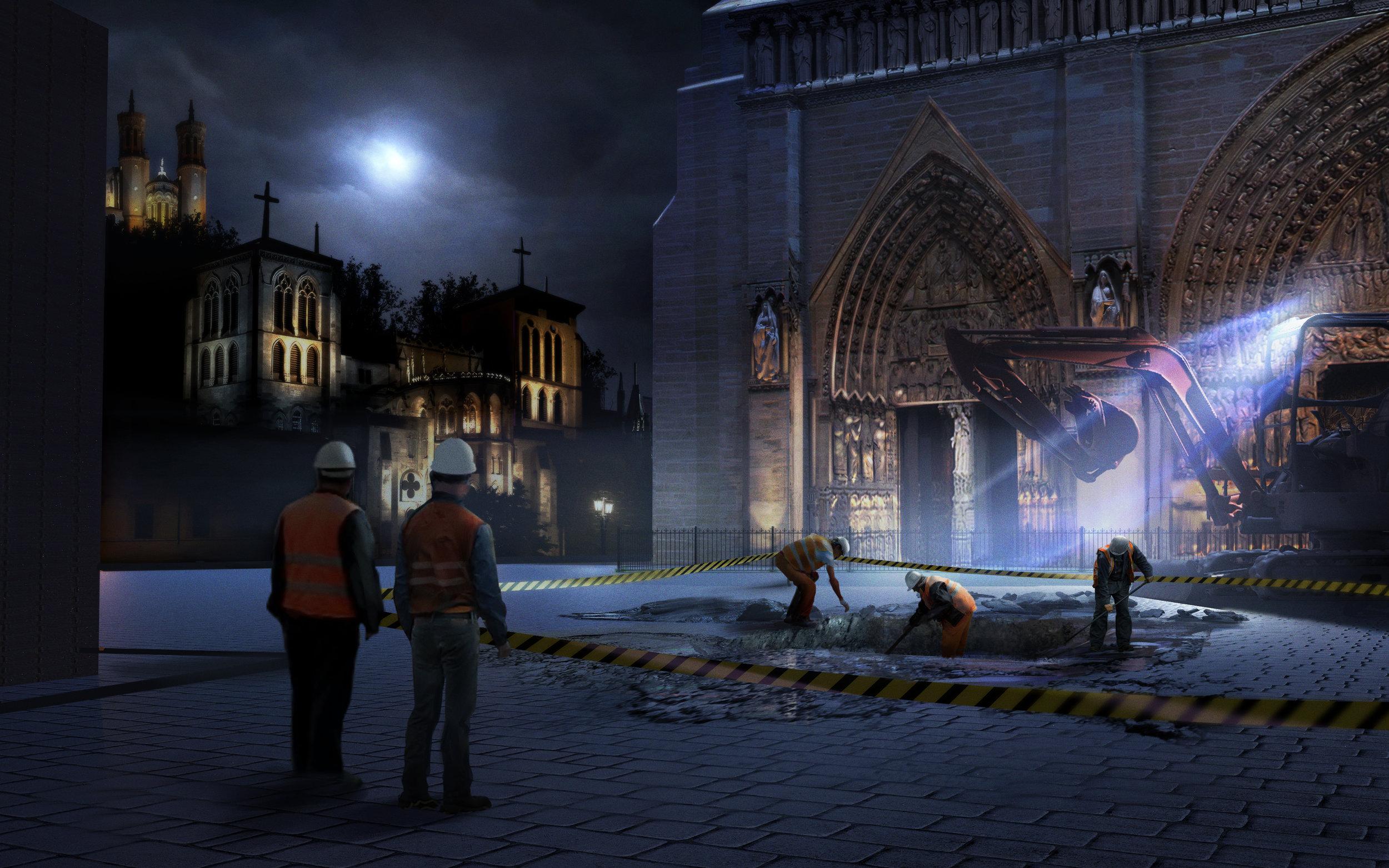 OPENING SCENE ACT I Excavation pit where they discover Esmeralda's skeleton.