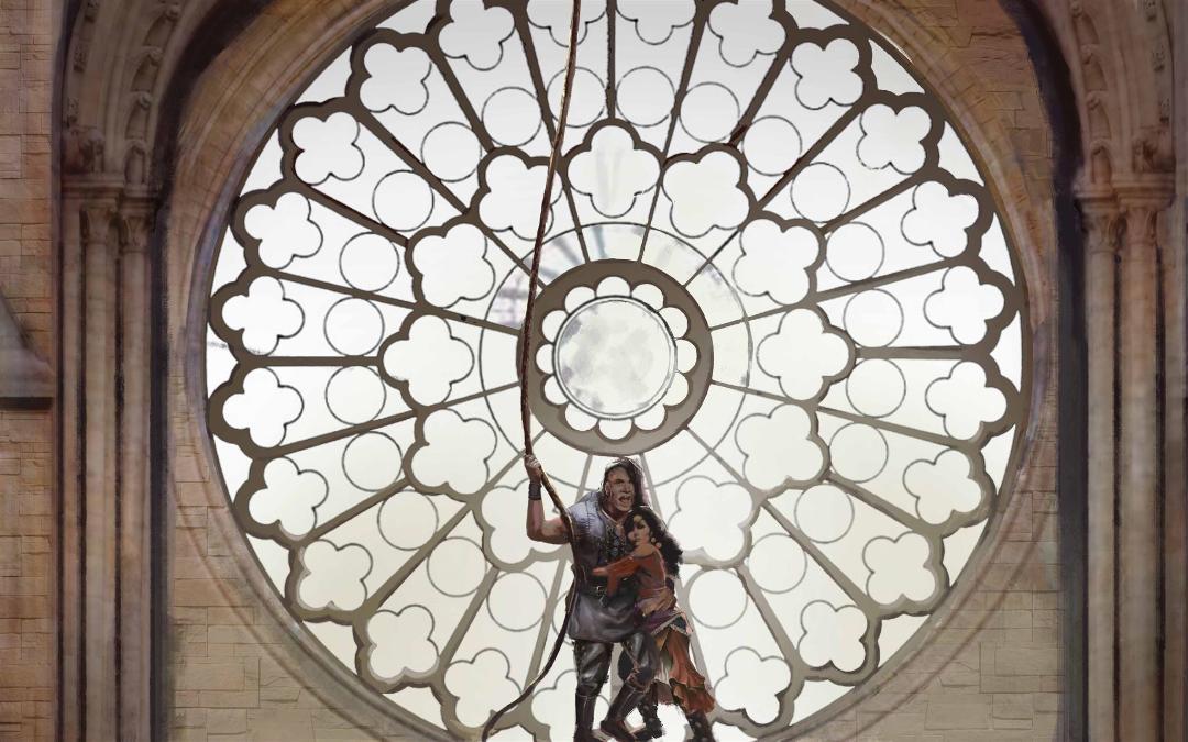 SANCTUARY! Quasimodo saves Esmeralda from the gallows.