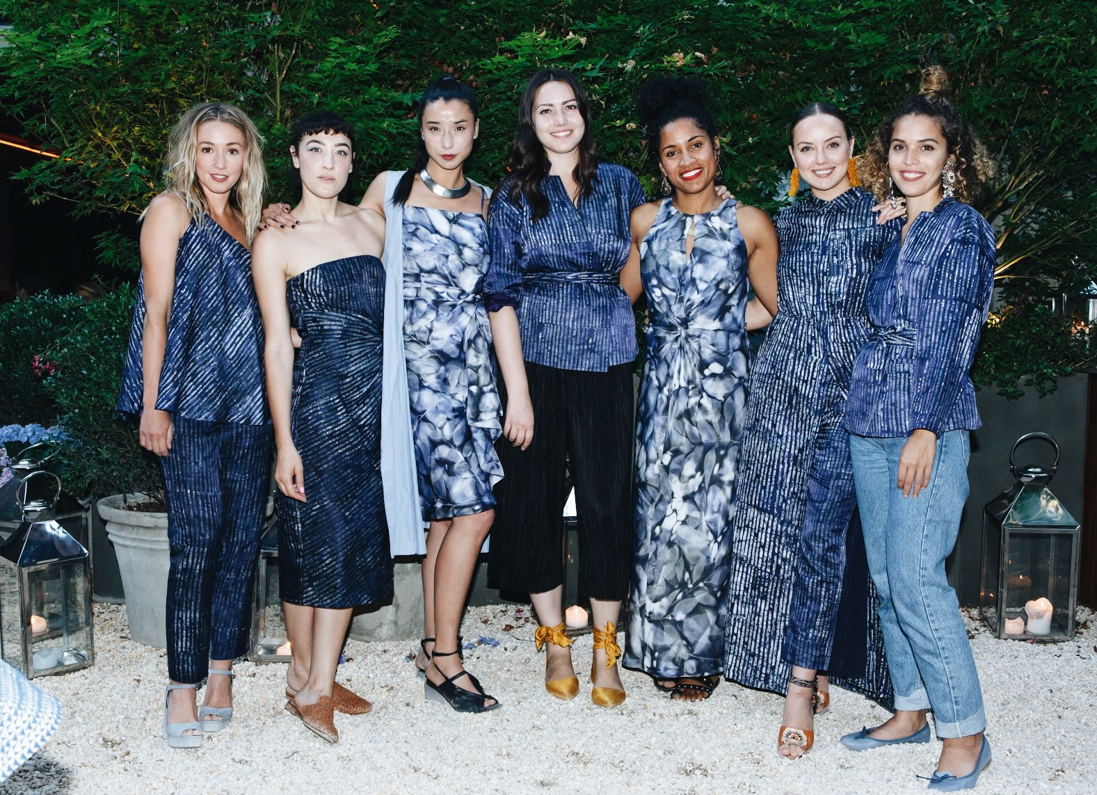 Left to right: Kate Greer, Mia Moretti, Lily Kwong, Liza Voloshin, De'ara Balenger, Kelly Framel, and Cleo Wade all wearing the new Piece & Co. x Banana Republic capsule collection.