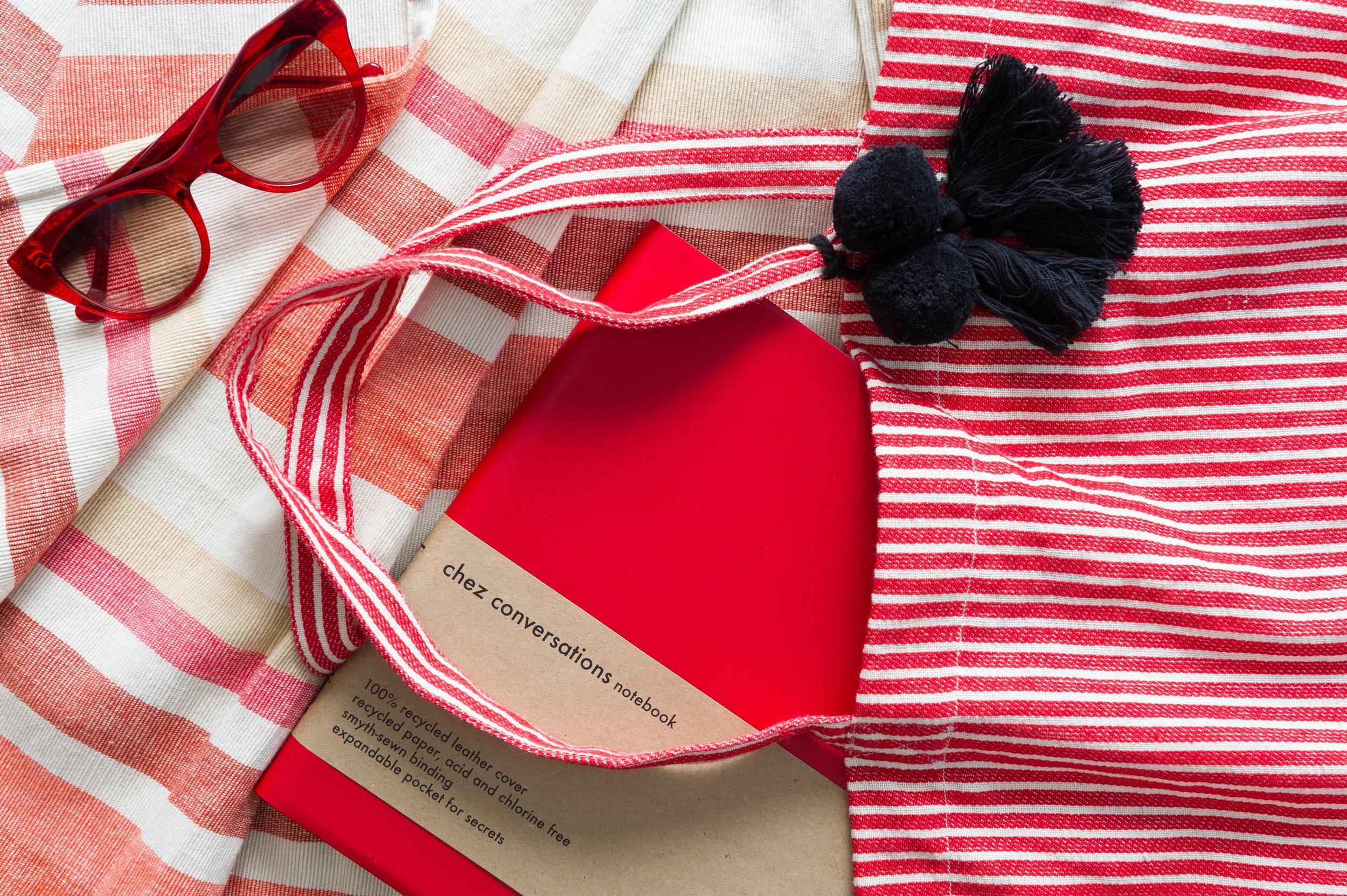 Cordelia Tote Bag in blush combo and the Sunrise Beach Blanket.
