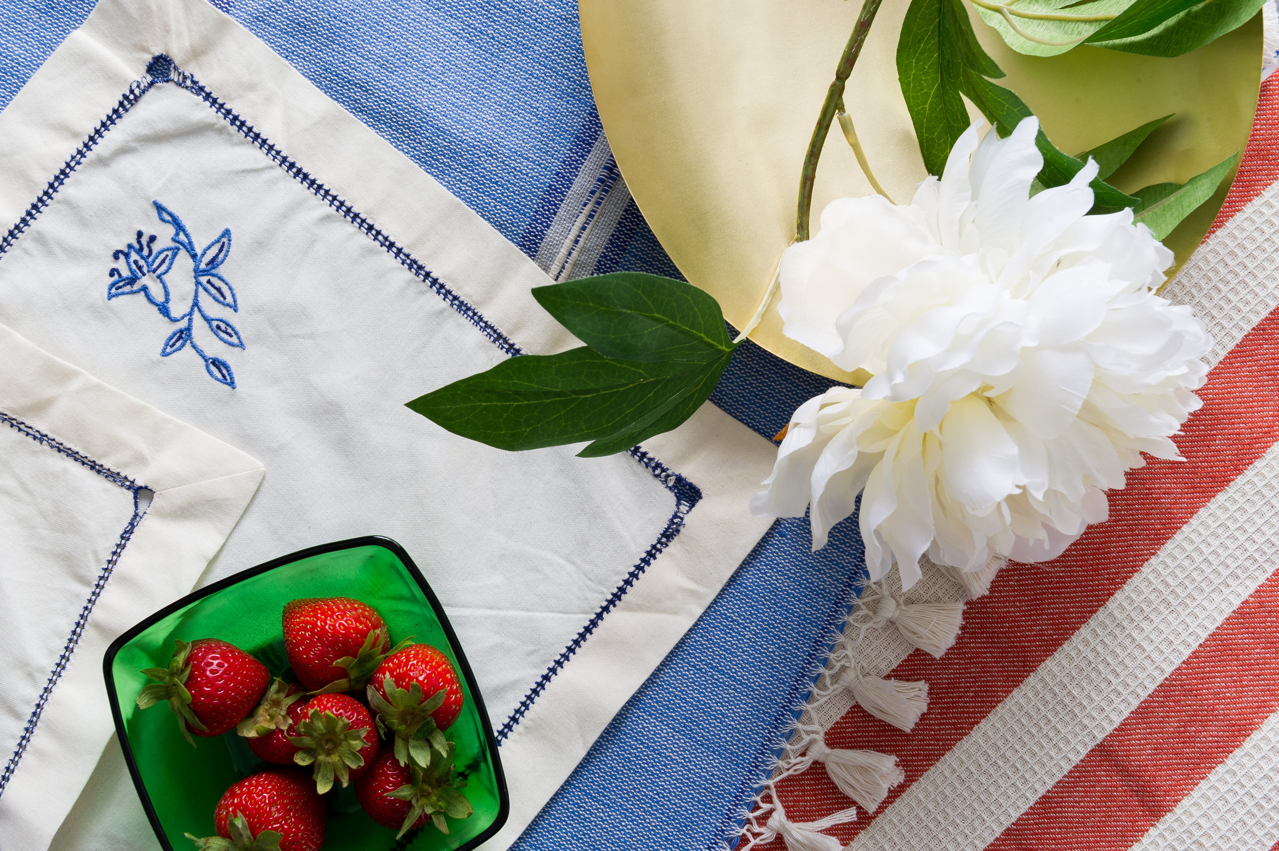 Pastoral Napkin, Vesta Table Runner and Vesta Kitchen Towel all made with 100% Organic cotton.