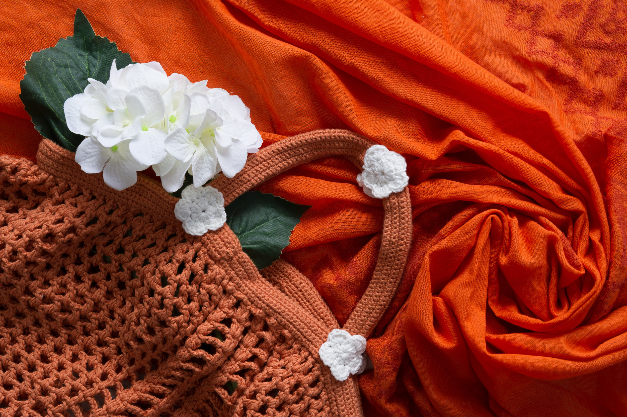 Crocheted Haight Ashbury Farmers Tote in Sienna