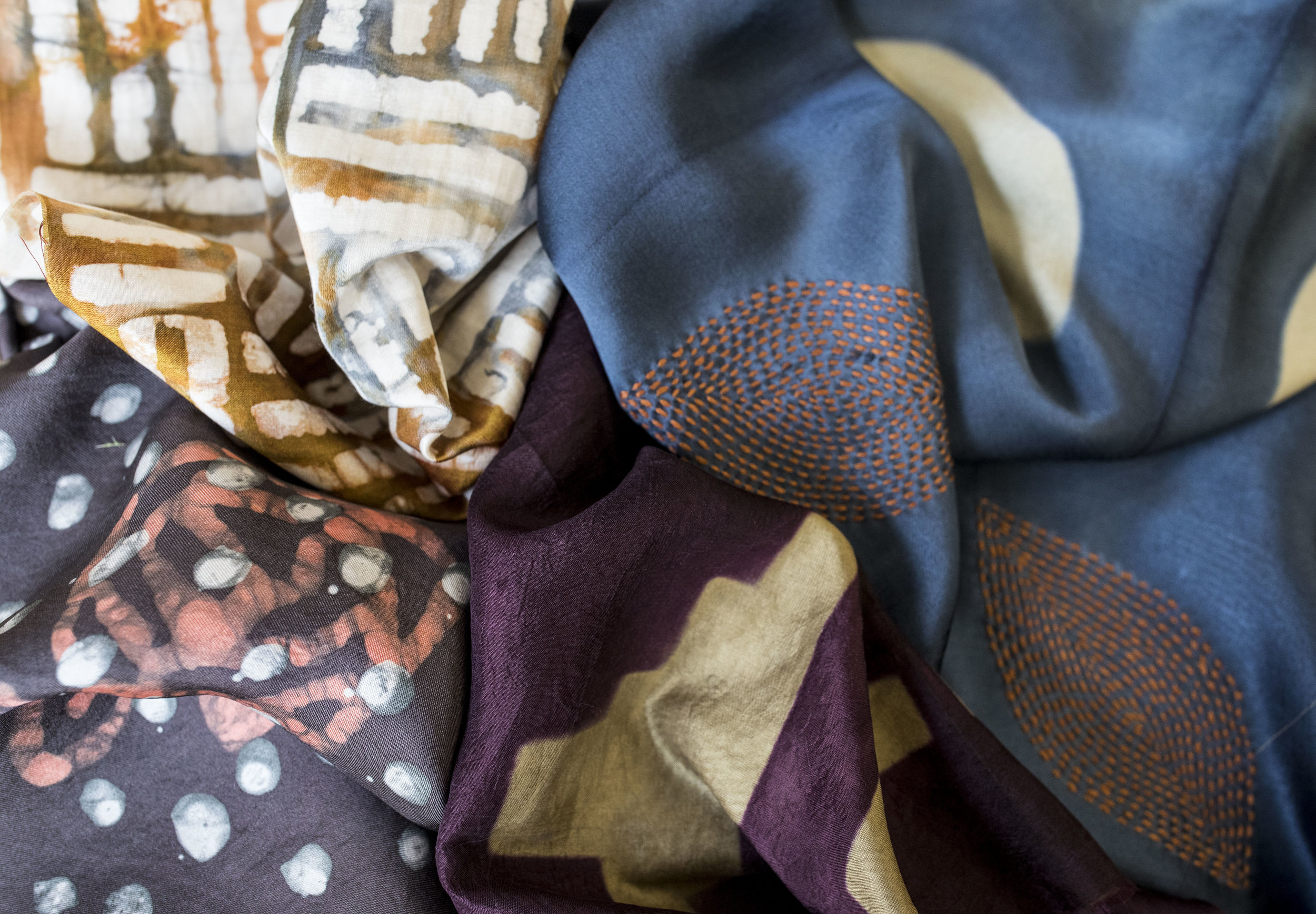A juxtaposition of beautiful shibori fabric made by our artisan partners in India, and lovely batik fabric made by our artisan partners in Ghana.