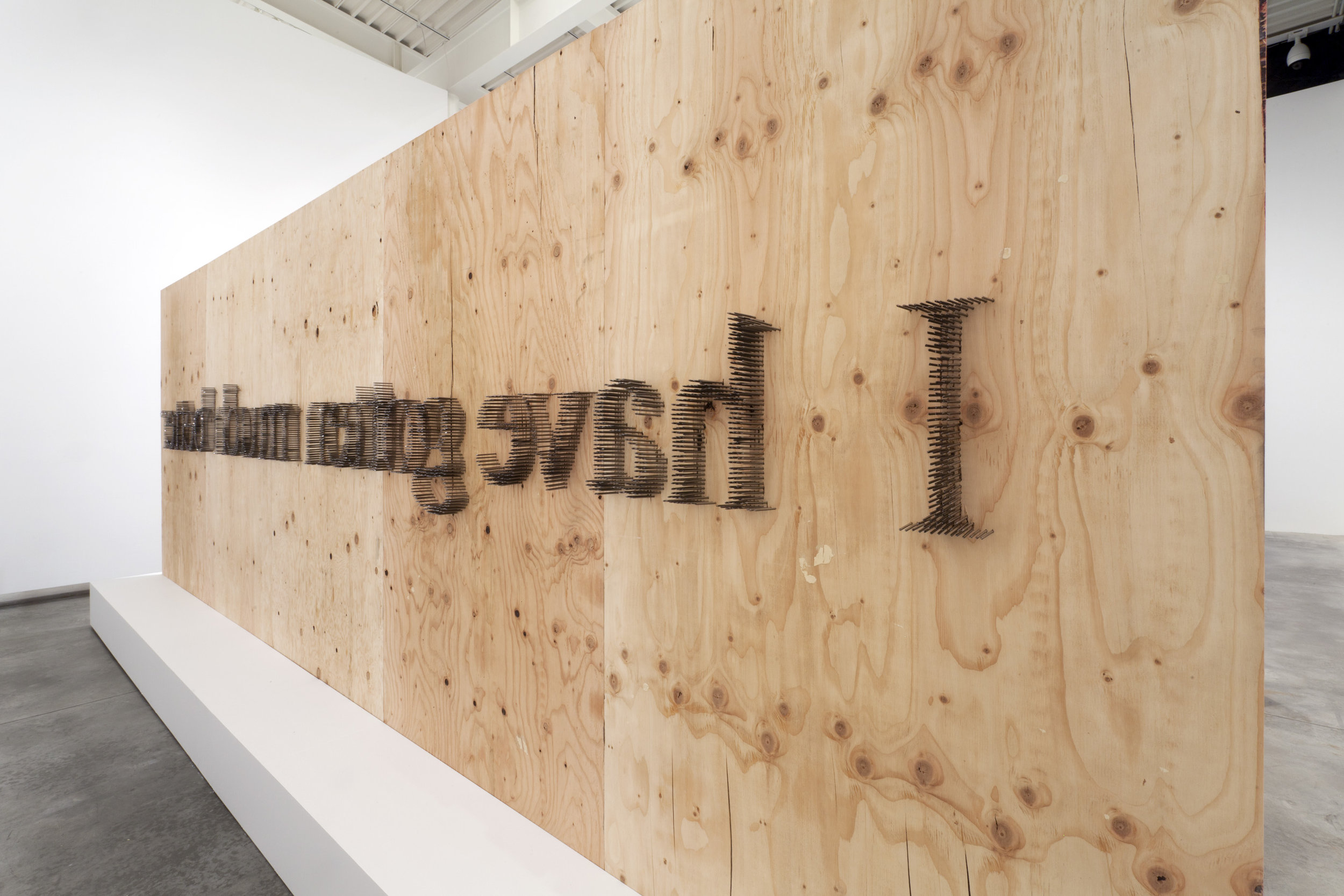 Plywood, Construction Nails, Plaster Plinth, White Paint, Silicon Dioxide Microchip. 700 x 300 x 150 Cm