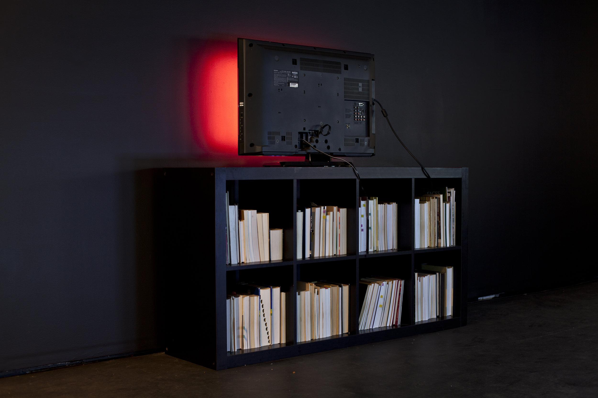 Installation view TV Monitor, Digital Image, Black IKEA Wooden Bookshelf, Book, Silver Mirror, Black Paint.
