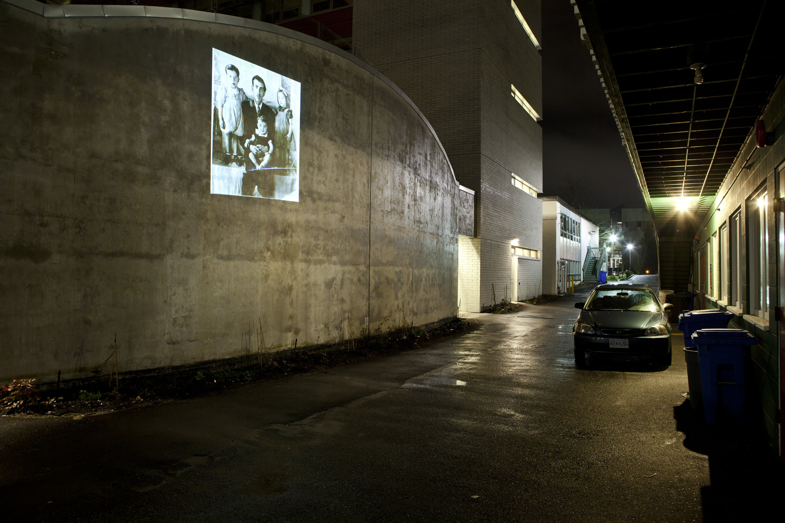 HD image projection onto UBC's building of  Centre for Interactive Research on   Sustainability.