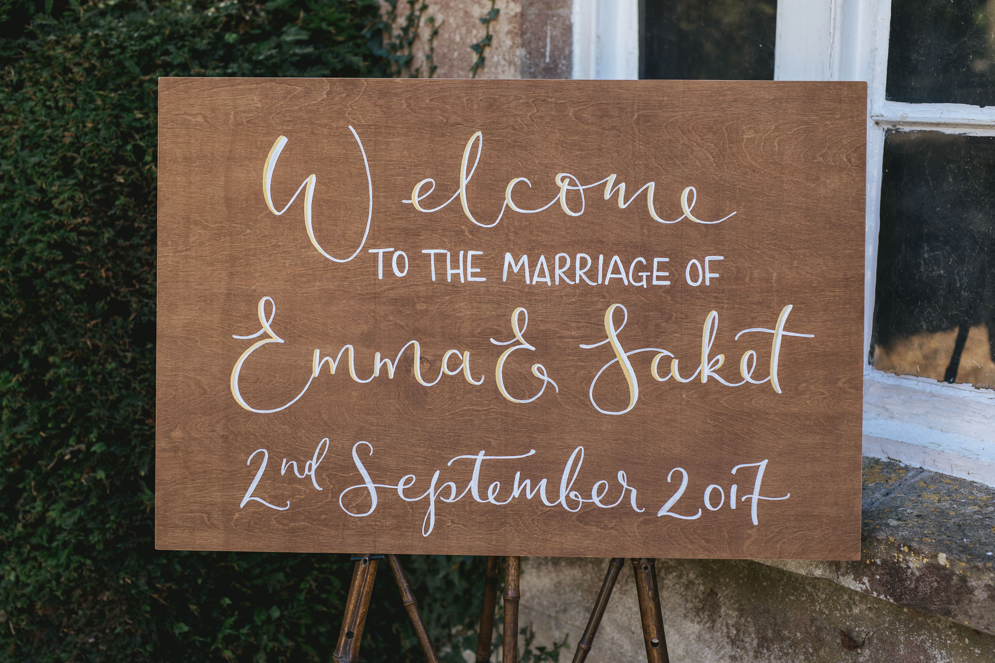 Outdoor wedding at Pennard House, Somerset_calligraphy welcome sign