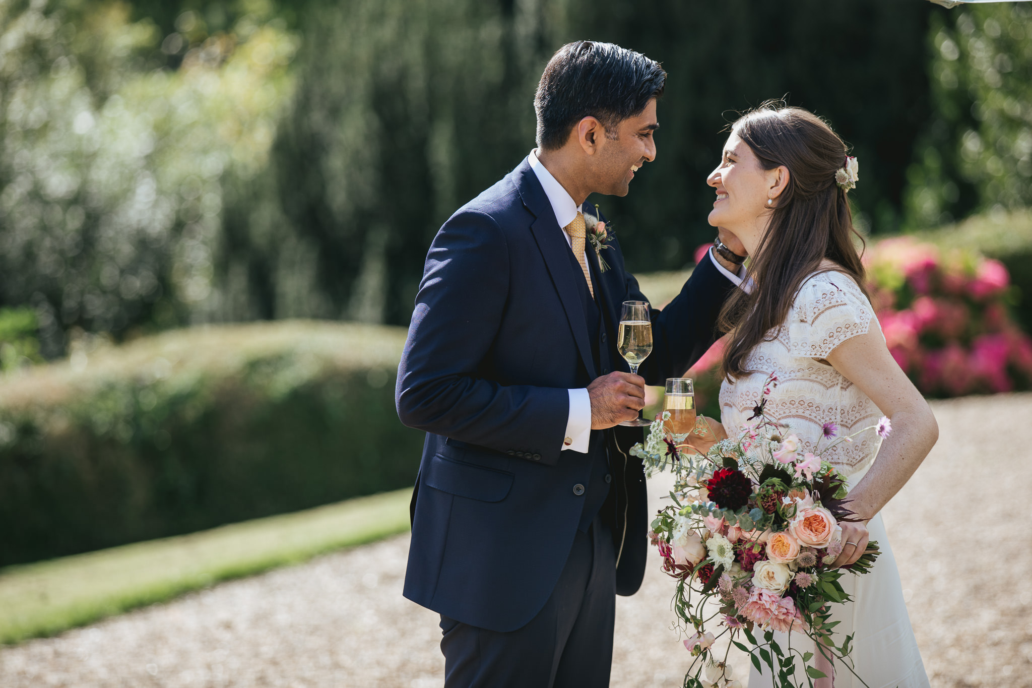 Outdoor wedding at Pennard House, Somerset_couple share tender moment