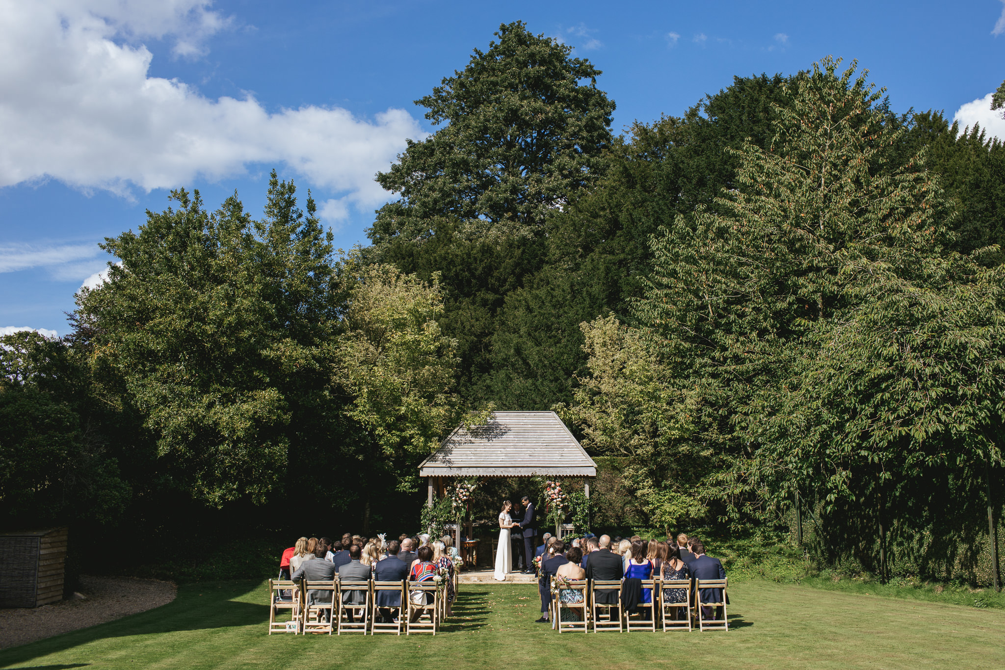 Outdoor wedding at Pennard House, Somerset_beautiful scene of the wedding taking place