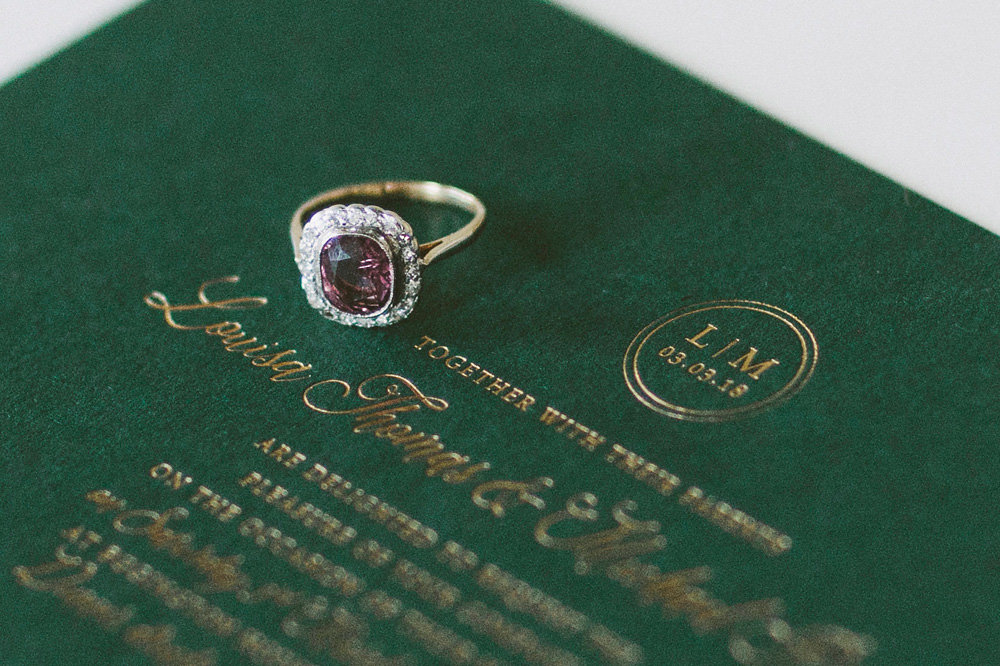 Wedding invitation and engagement ring. Image by David Jenkins
