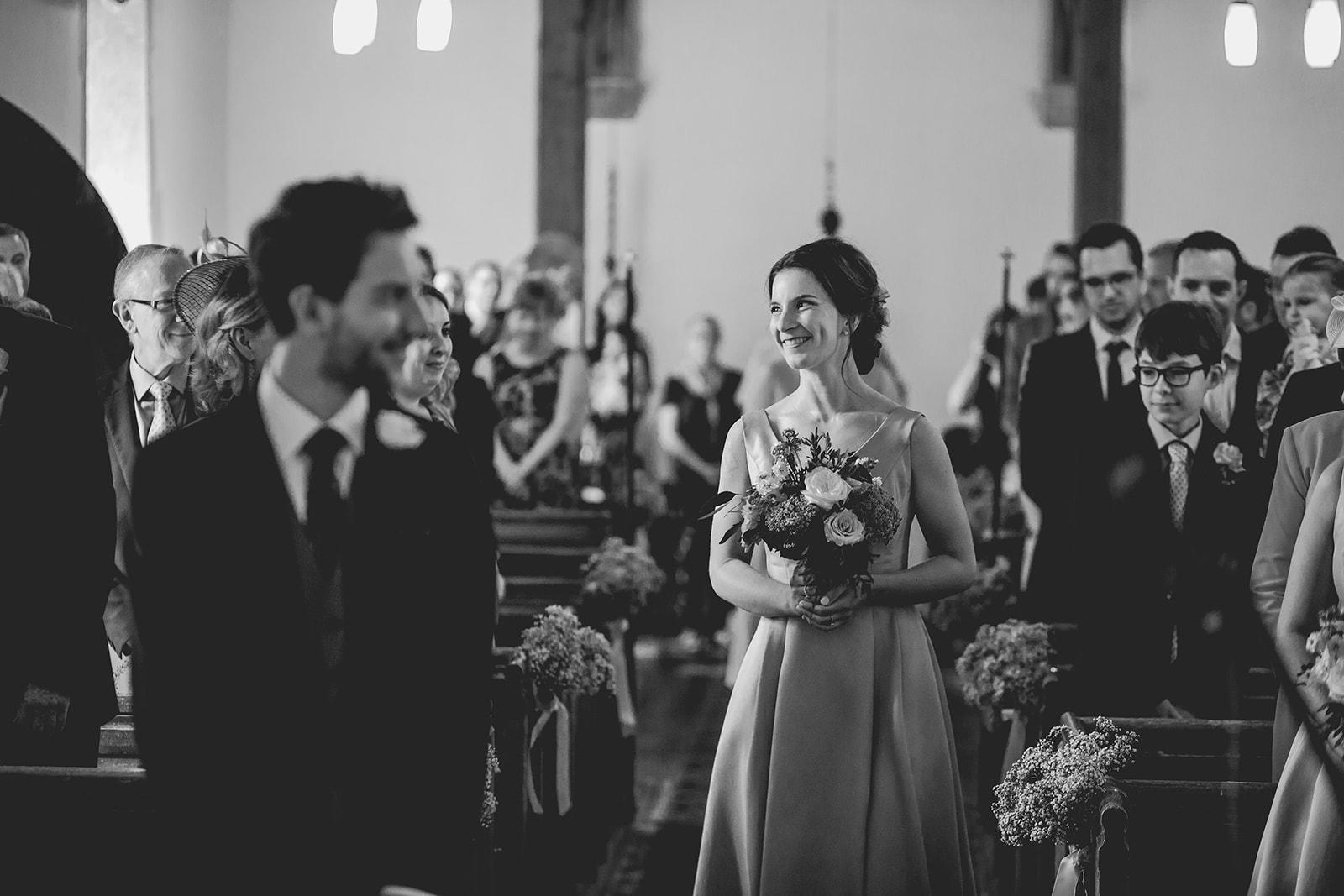 Eggington House marquee wedding_bridesmaid walks in