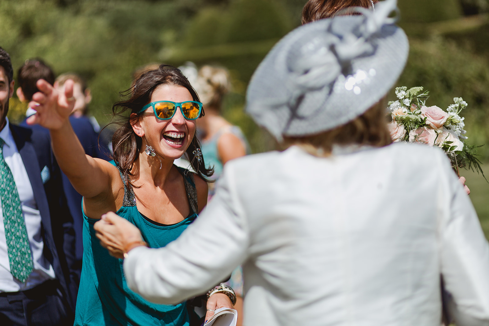 Eggington House marquee wedding_guests greet each other