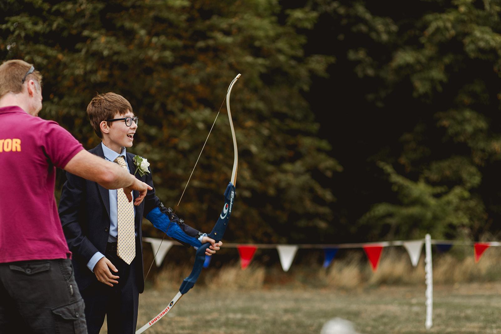 Eggington House marquee wedding_archery activity