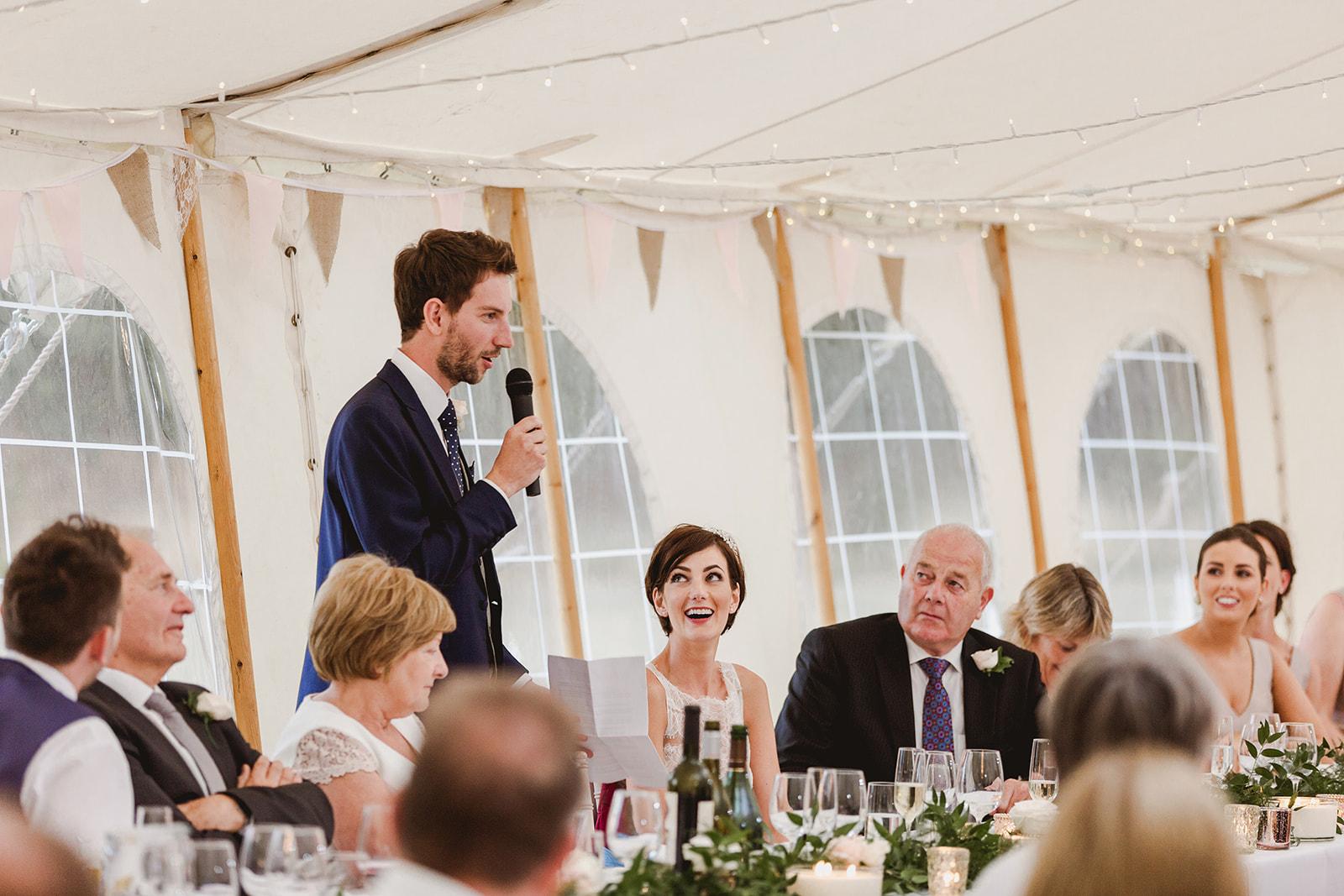 Eggington House marquee wedding_groom speech