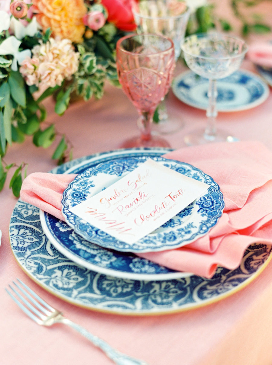 Isn't this fun! Coral and blue is such a fresh and cheerful combination and I adore this tropical vintage tablescape from  Casa de Perrin . Photo by  Calvin Elizabeth Photography .