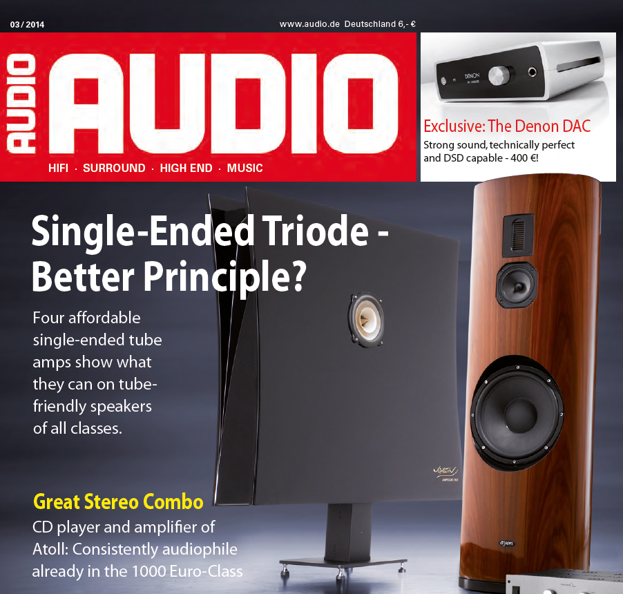 Tested, reviewed and ranked#1 within Reference Classloudspeakers - The prestigious German hifi magazine AUDIO lists the Ampeggio Due at the top of a long list of super-speakers with a score of 109 points.