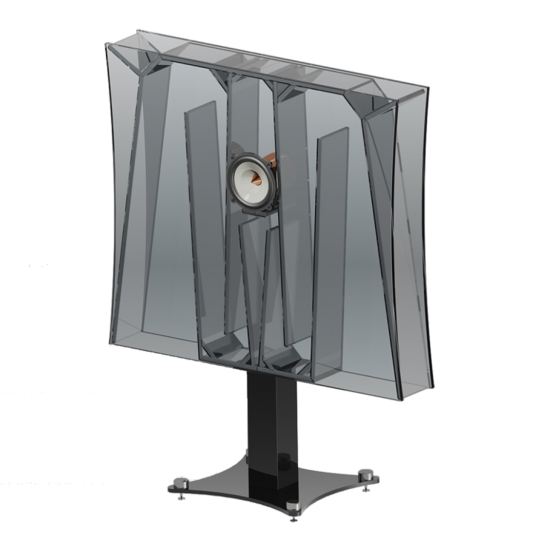 """An ingenius folded horn launches music into the room with explosive dynamics. - An overall 47"""" (120cm) cabinet width allows for phenomenal bass response, yet mid and high frequencies are reproduced silky-smooth, transparent, open and full of detail."""