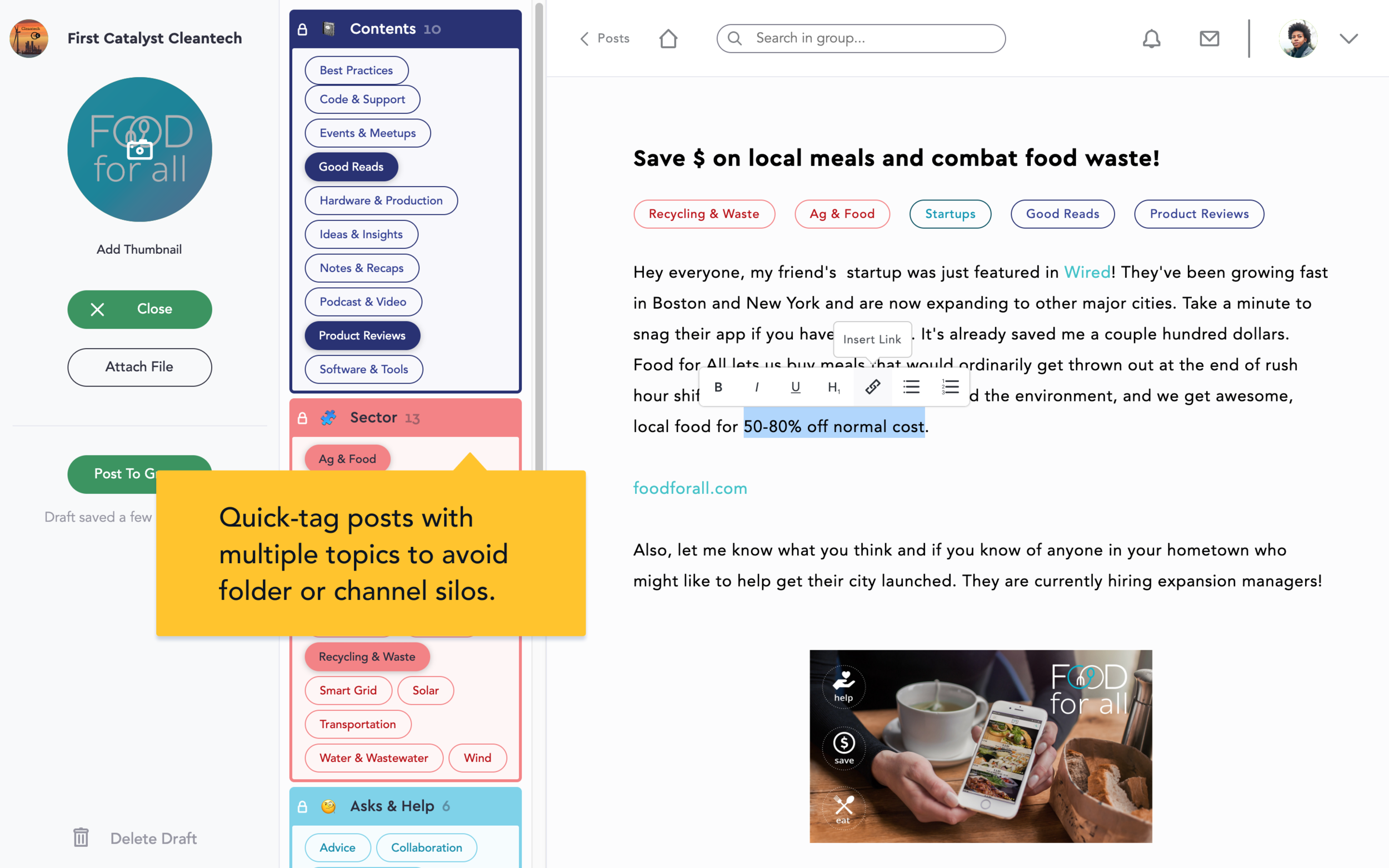 A group's post Editor lets them compose posts and tag them with a swing-out menu of ready-made tags.