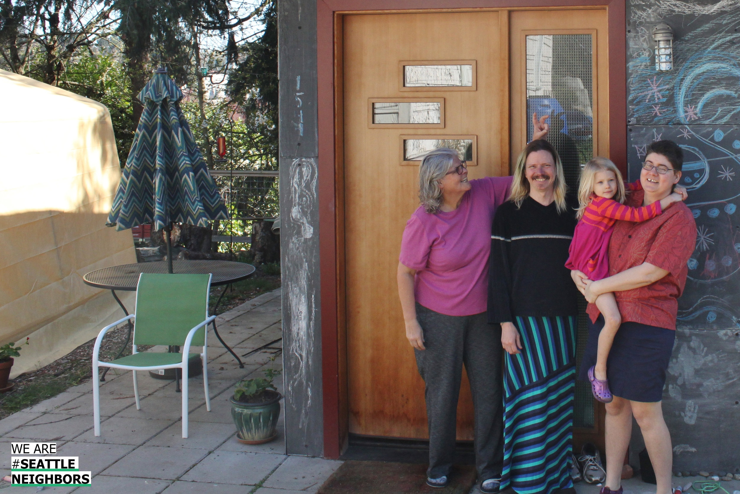 Rachael Ludwick (at right) and her partner Adam built this backyard cottage for her mom, Jeannine Shingler (at left).