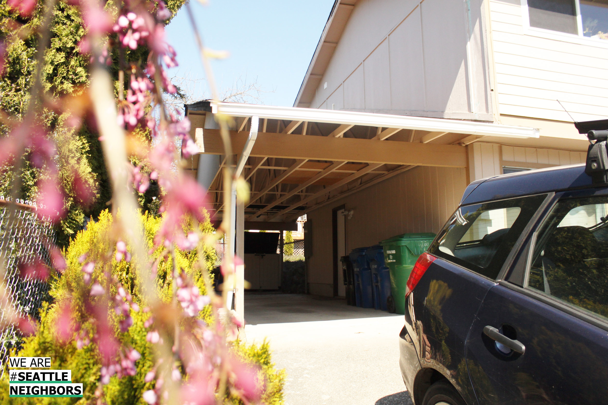One of the doors to the ADU, located under the carport.