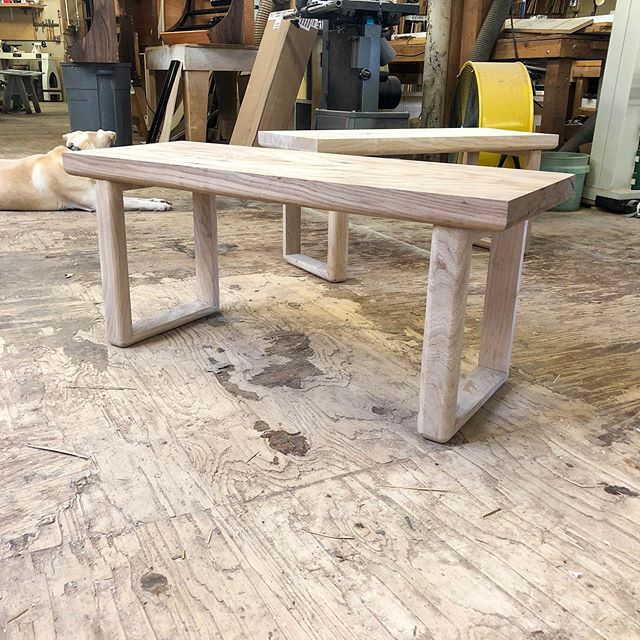 A couple simple benches getting ready for some color and finishing. The clean rectangular lines and spacing evoke a strength in minimalism. The round over on the legs and bottom side of the seat offers a visual softening of the piece that yields warmth in what can otherwise be an icy modern furniture world. Materials are off cuts of #arborica naturally reclaimed and sustainably sources Ash, from the table these benches will accompany. . . . . . . . #homeinspiration #furnituredesign #homedesign #interiordesign #IndustrialDesign #designspo #designinspiration #handmade #organicfurniture #woodwork #woodcarving  #wood #woodworking #woodcraft #woodporn #custommade #woodart #carpentry #carpenter #finewoodworking #woodgrain #reclaimedwood  #finewoodwork #craft #moderndecor #wood #midcenturymodern #tools #makermovement #tribebuilt