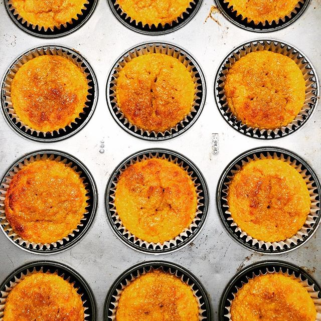 Sunshine on a rainy day. Freshly baked this morning, polenta muffins with clementine and pomegranate syrup. #swallowcoffeeshop #rain #goldhawkroad #shebu #glutenfree