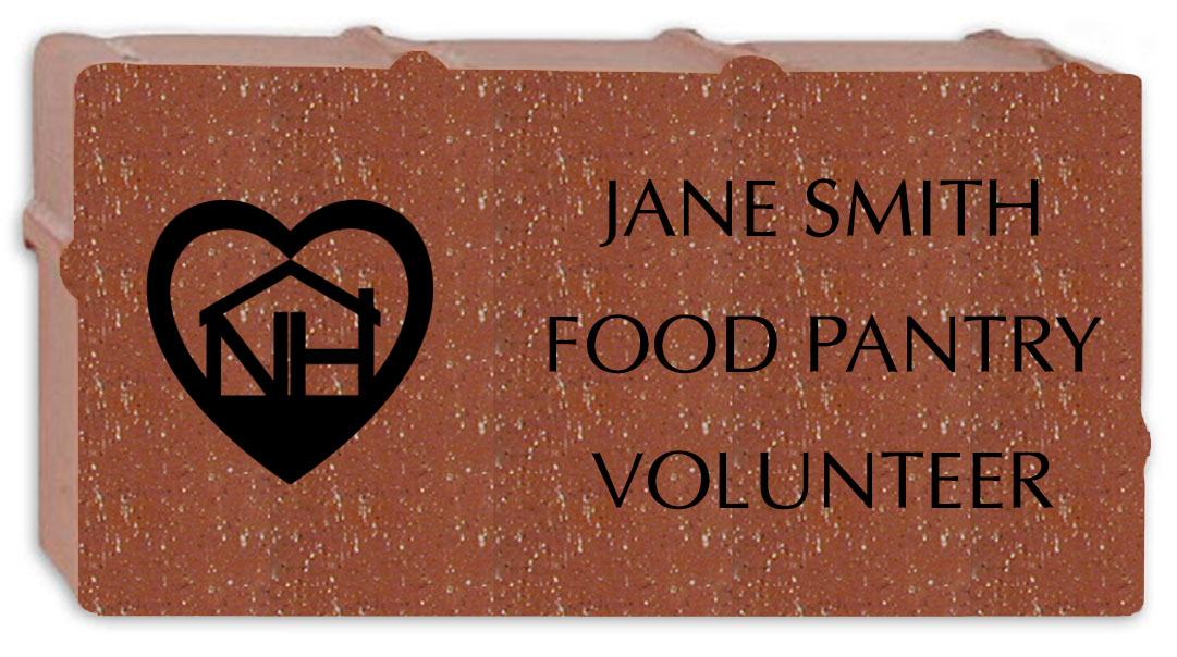 Above is an example of a Neighborhood House brick with logo. This option is for staff, volunteers, and Board of Directors only.