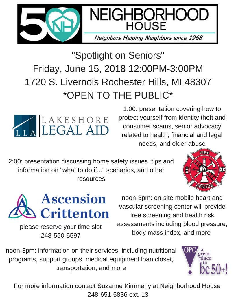 _Spotlight on Seniors_Friday, June 15, 2018 12_00PM-3_00PM1720 S. Livernois Rochester Hills, MI 48307.png