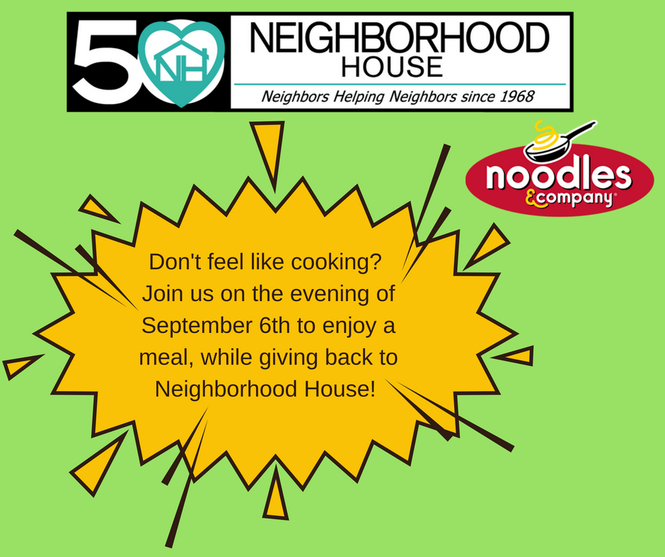 Join us from 4pm-9pm on Thursday, September 6th at Noodles & Company (184 N Adams Rd., Rochester Hills, MI 48309) to have dinner and support the critical services provided by Neighborhood House to support our local community. 50% of the proceeds will go to benefit Neighborhood House!