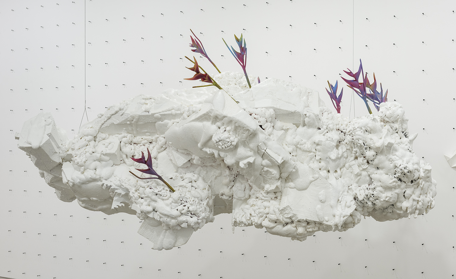 Philippe Caron Lefebvre,  Patriarche,  2016, Polyurethane foam, polystyrene, paint and artificial flowers , variable dimensions