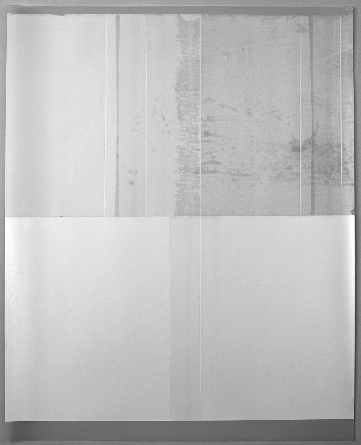 "Jim Verburg,  Untitled (white, from the series reflected/repeated - light becomes form, the horizon rests into view),  2015, oil based ink painted on frosted mylar, 25"" x 20"" (63.5 x 51 cm)"