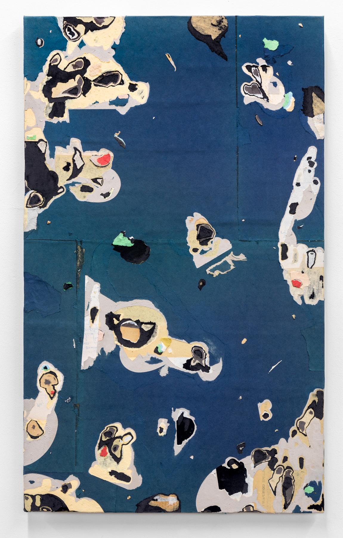 "Jacob Whibley, lonely rivers flow , 2017, ephemera paper on panel, 76 x 46 cm (30"" x 18.25"")"