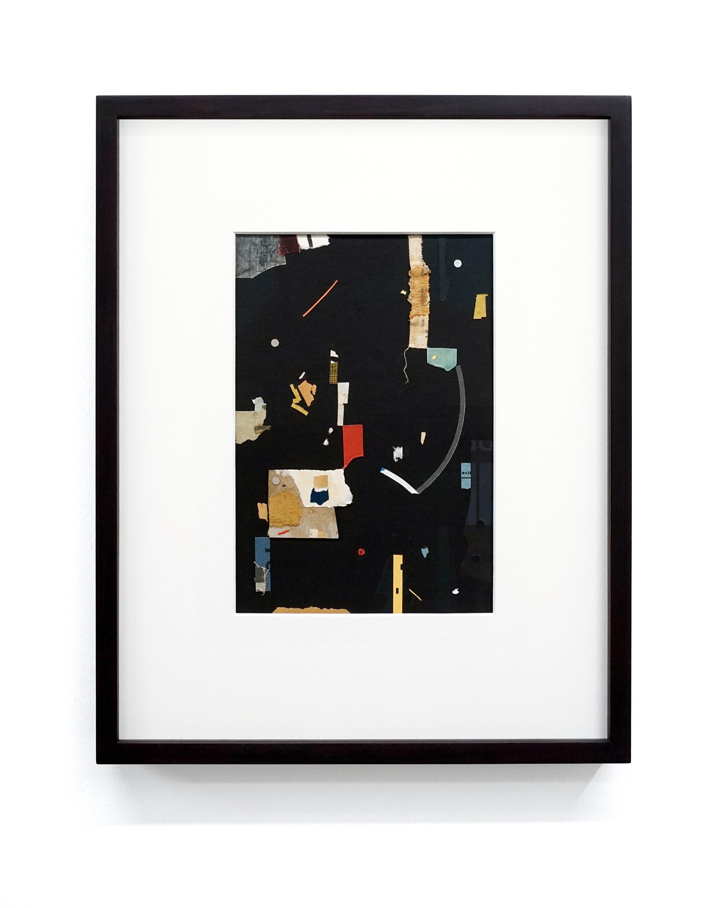 "Jacob Whibley, evi , 2017, ephemera paper on cardboard,13 x 20 cm (5.5"" x 8"")"