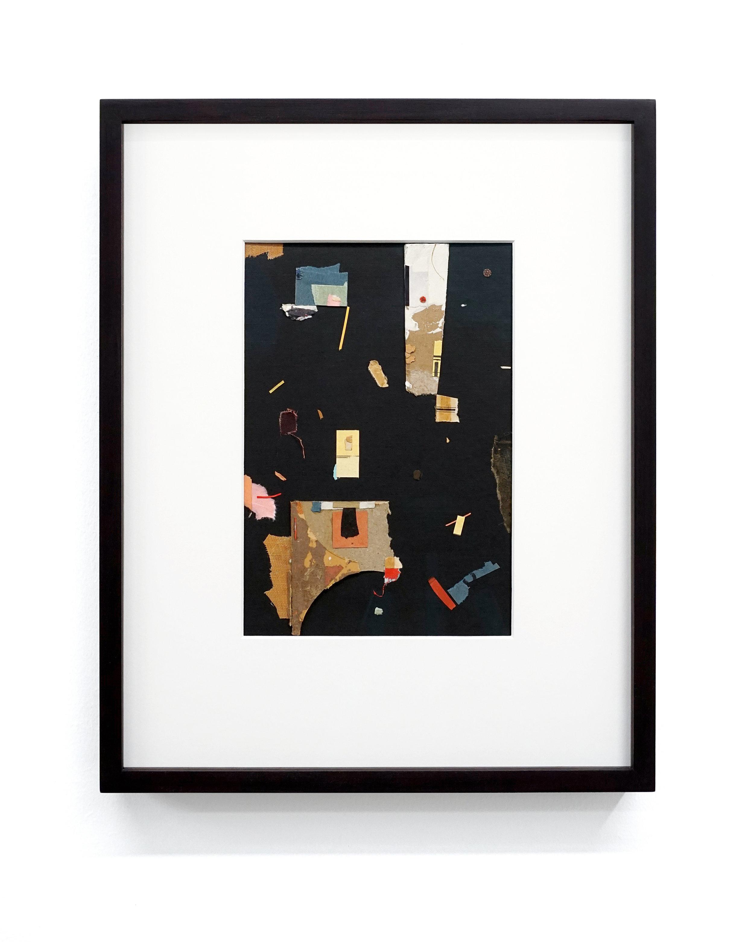 "Jacob Whibley,  oio , 2017, ephemera paper on cardboard,13 x 20 cm (5.5"" x 8"")"