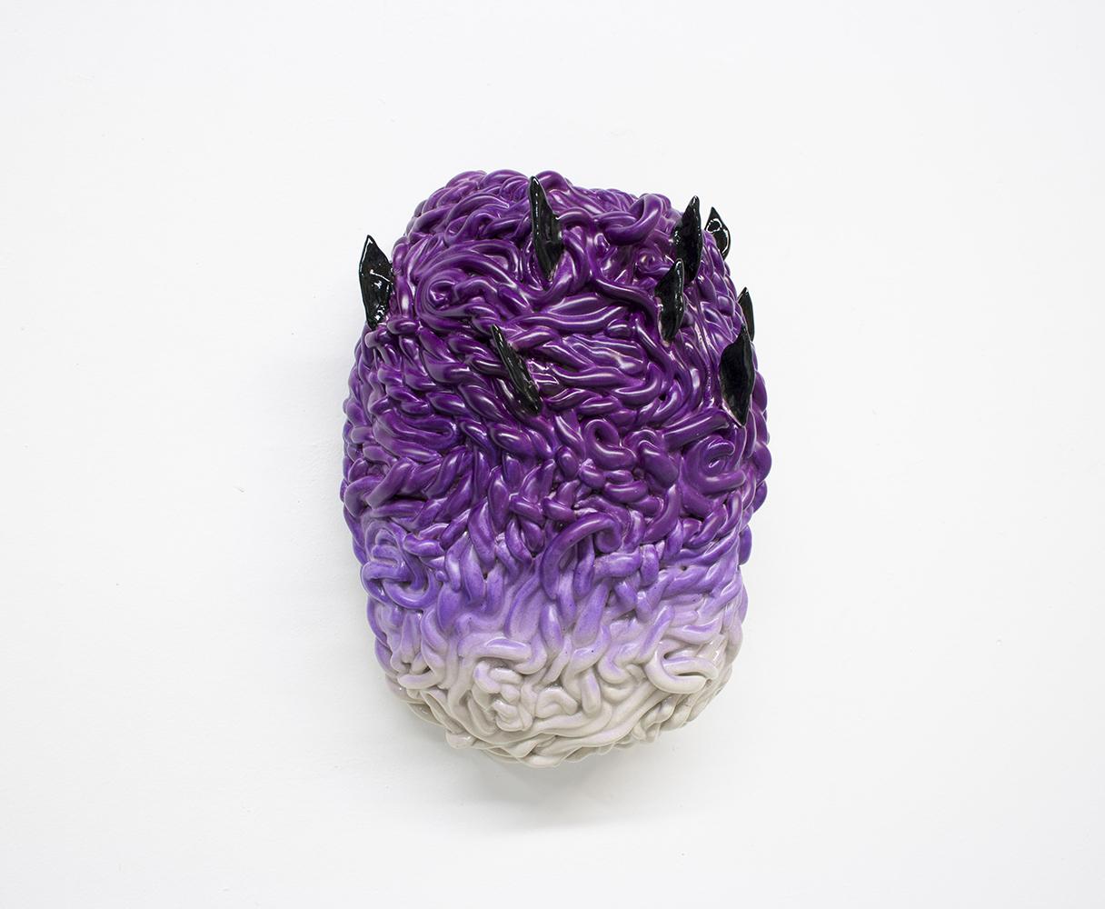 """Philippe Caron Lefebvre,  Le Maître mauve télékinétique , 2018, ceramic, glaze and spray paint, 11,5"""" x 8"""" x 6"""" (29 x 20 x 15.5 cm)."""