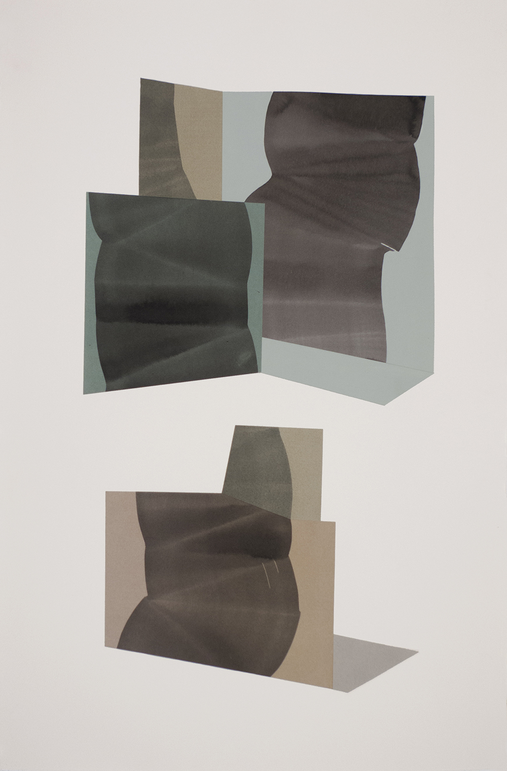 """Simone Rochon, Ombres souples no. 2 , 2017, collage, acrylic ink on Waterford paper,40"""" x 26"""" (102 x 66 cm)."""