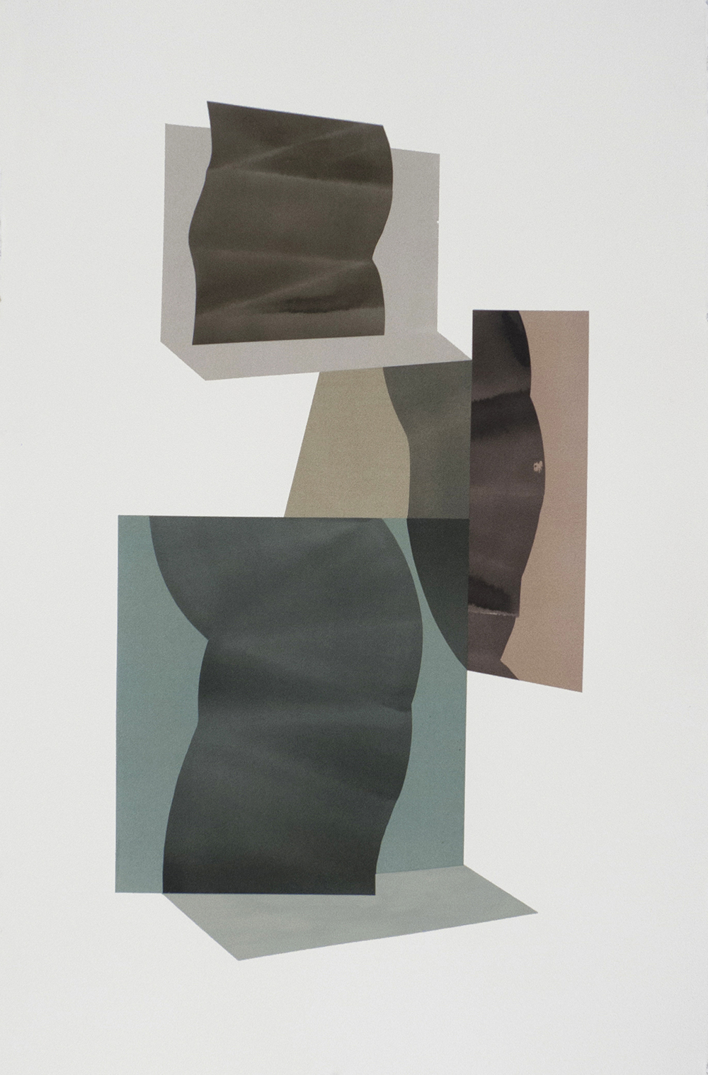 """Simone Rochon, Ombres souples no. 1 , 2017, collage, acrylic ink on Waterford paper,40"""" x 26"""" (102 x 66 cm)."""