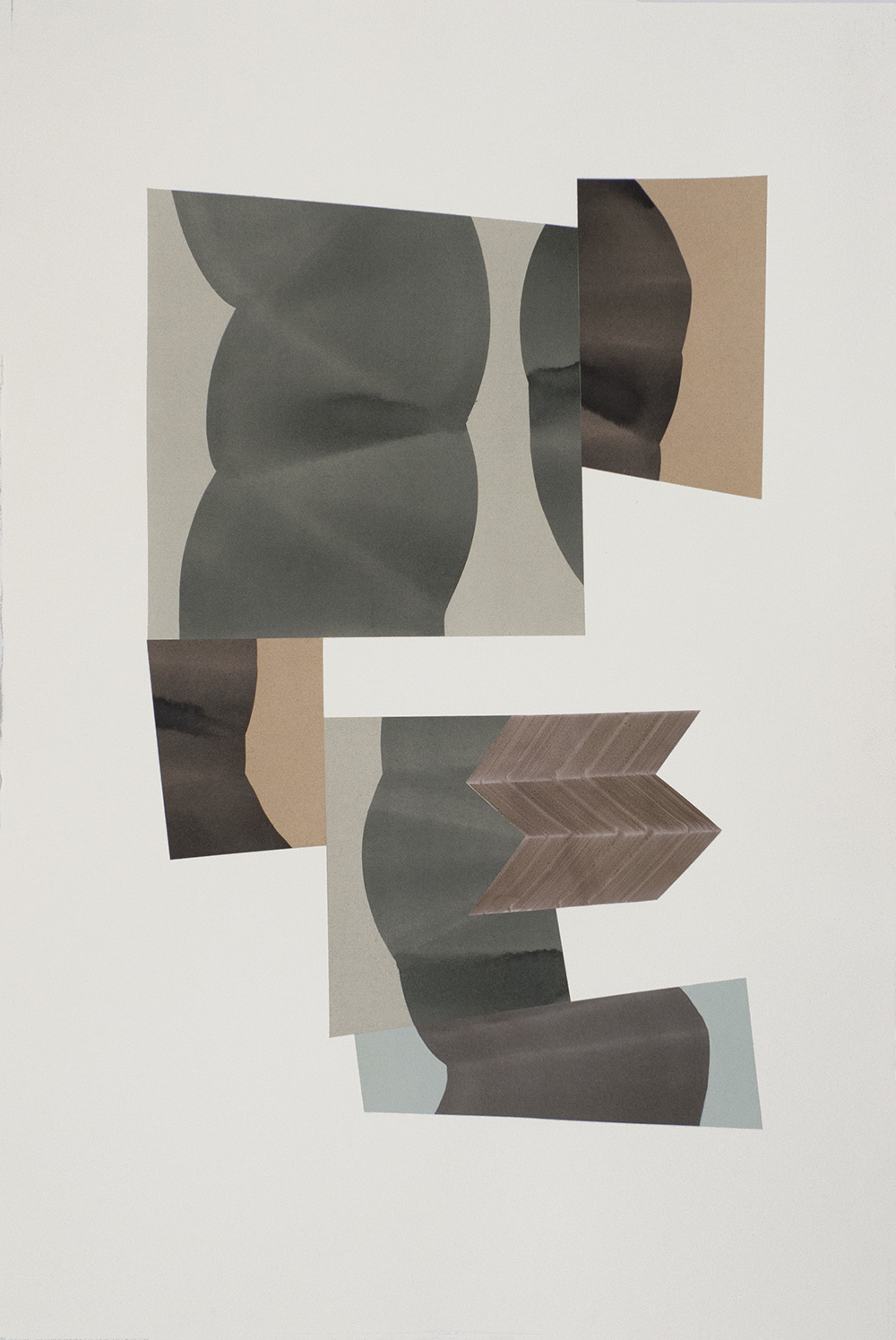 """Simone Rochon, Ombres souples no. 4 , 2017, collage, acrylic ink on Waterford paper,40"""" x 26"""" (102 x 66 cm)."""
