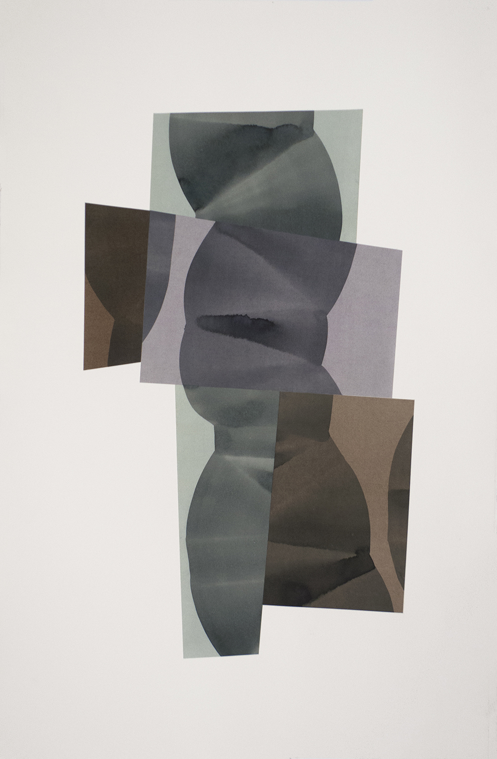 """Simone Rochon, Ombres souples no. 5 , 2017, collage, acrylic ink on Waterford paper,40"""" x 26"""" (102 x 66 cm)."""