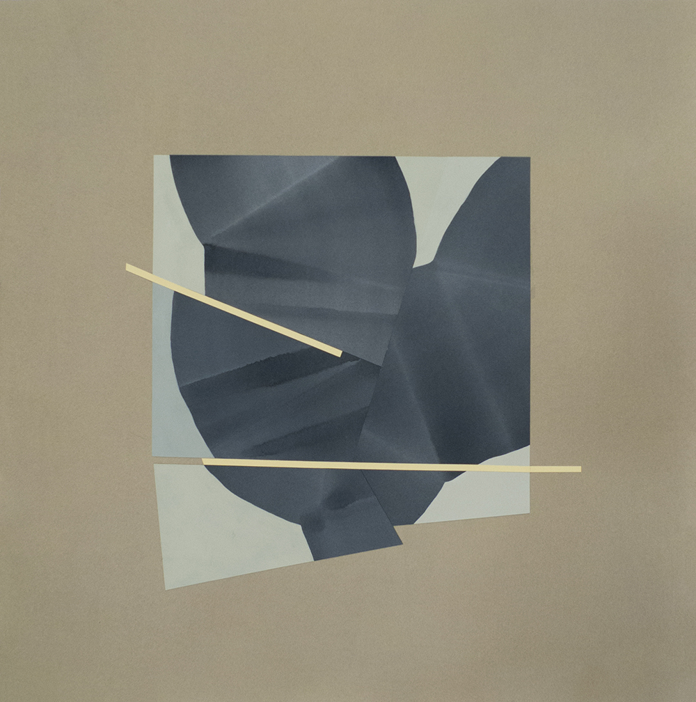 """Simone Rochon, Ombres souples (greffe bleue) , 2017, collage, acrylic ink on Waterford paper,26"""" x 25.5"""" (66 x 65 cm)."""